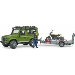BRUDER Land Rover Defender with trailer, Scrambler Ducati Full Throttle (02589)