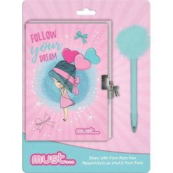 Ημερολόγιο με Κλειδαριά Κορίτσι Μπαλόνια  12x18cm 60φ. και Στυλό με Pom Pom (584343)