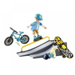 Playmobil  Βαλιτσάκι Skate Με Πίστα Και Ποδήλατο (9107)