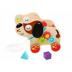 Tooky Toy ΞΥΛΙΝΟ ΣΥΡΟΜΕΝΟ ΣΚΥΛΑΚΙ ΜΕ ΔΡΑΣΤΗΡΙΟΤΗΤΕΣ (TL024)